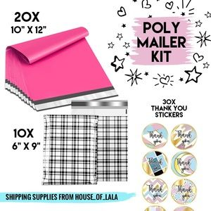 Poly mailer shipping kit pink black with stickers